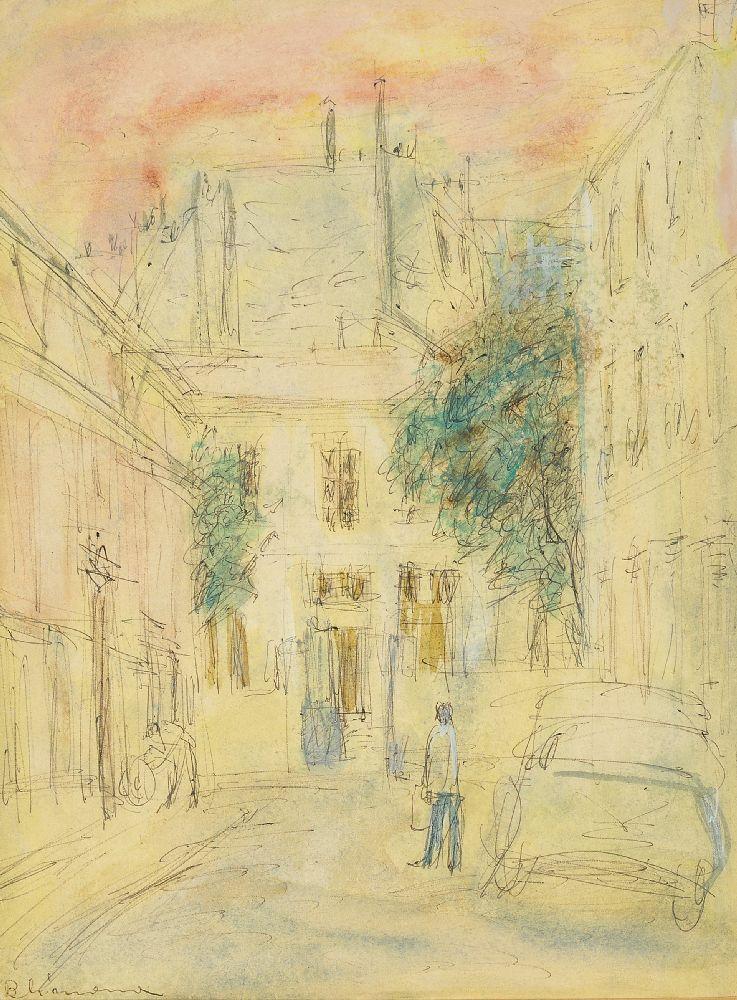 Berta Grünberg, Polish 1912-1993- Street scene in Paris; black pen, watercolour and gouache,