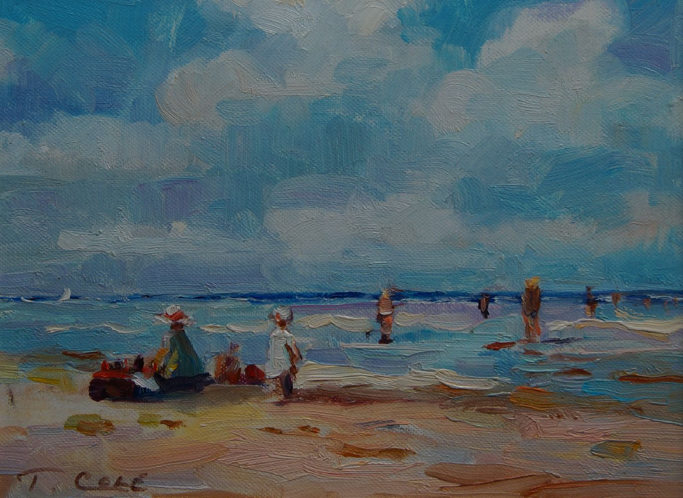 T Cole, American, late 20th century- A picnic at the seaside; oil on canvas, signed, 20x25.3cm