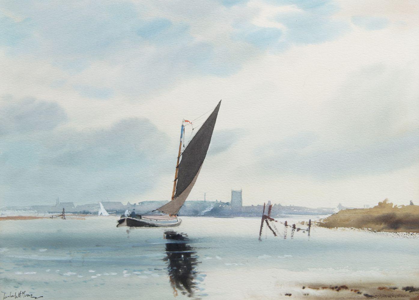 Leslie L H Moore, British 1907-1997- Boat sailing along a river and River landscape; watercolours, a