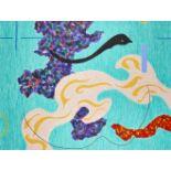 Vanda Harvey, British 1957-2015- Rolling Rivers XI-XIII & VIII; oils on paper, four, each signed