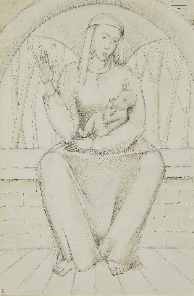 British School, early 20th century- Madonna and child; pen and black ink, pencil and coloured chalk,