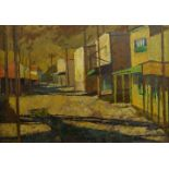 Christine Norland, British, mid-20th century- Frontier Town, Arizona; oil on panel, signed and dated