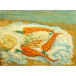 Jean Beron, French school, 20th-century- Still Life (recto) and tree study (verso); oil on canvas,