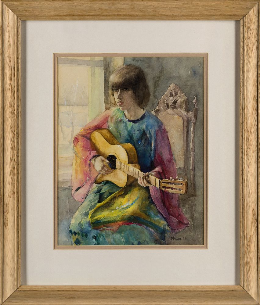 Valeriy Gridnev RP PS ROI, Russian b.1956- Girl with Guitar; watercolour, signed and dated '93,
