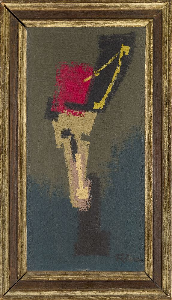 Siegried Alva, German 1901-1973- Untitled, circa 1950; oil on board, signed lower right, 60x31cm ( - Image 2 of 3