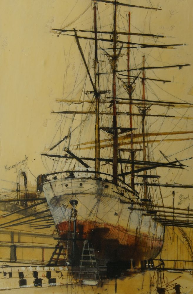 David Addey, British b.1933- Junk in full sail, Stern of a junk, and Junk in Hong Kong Harbour; - Image 2 of 6