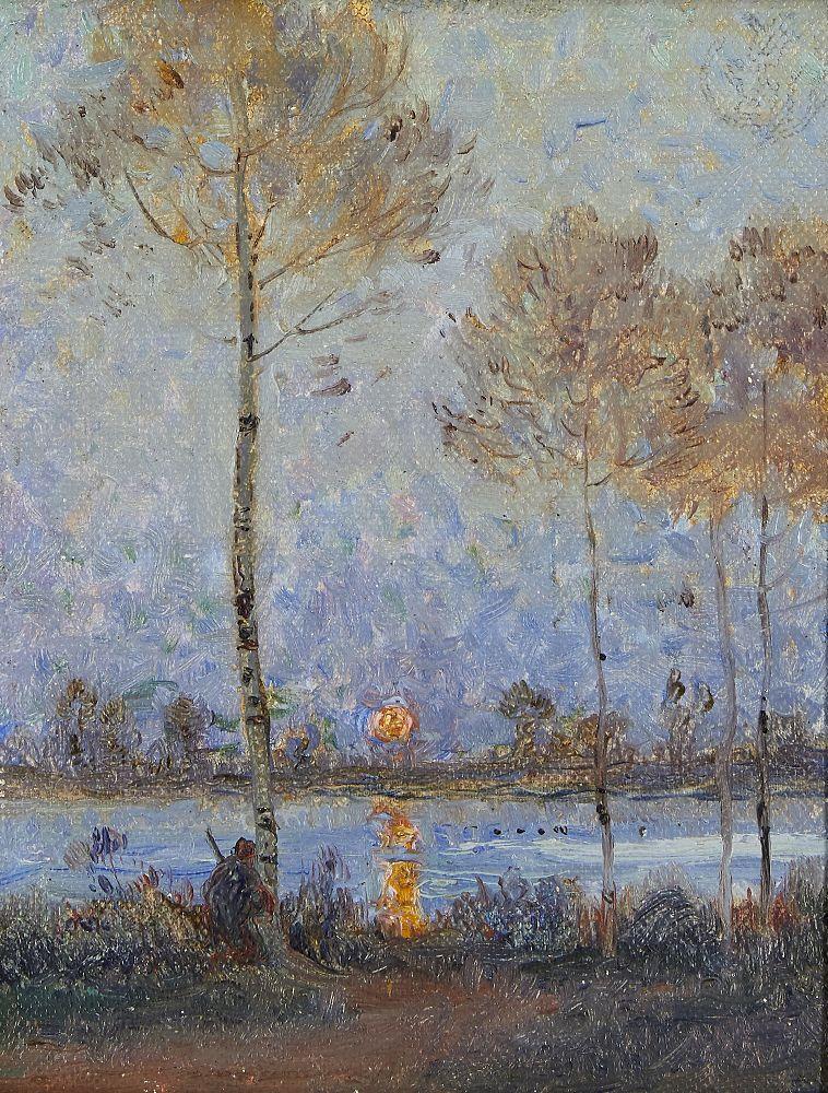 Claude Emile Schuffenecker, French 1851-1934- Coucher de soleil sur la rivière; oil on canvas laid