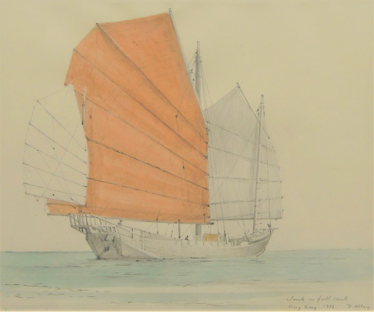 David Addey, British b.1933- Junk in full sail, Stern of a junk, and Junk in Hong Kong Harbour;