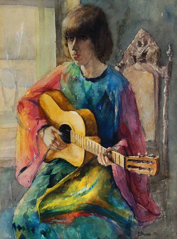 Valeriy Gridnev RP PS ROI, Russian b.1956- Girl with Guitar; watercolour, signed and dated '93, - Image 2 of 6
