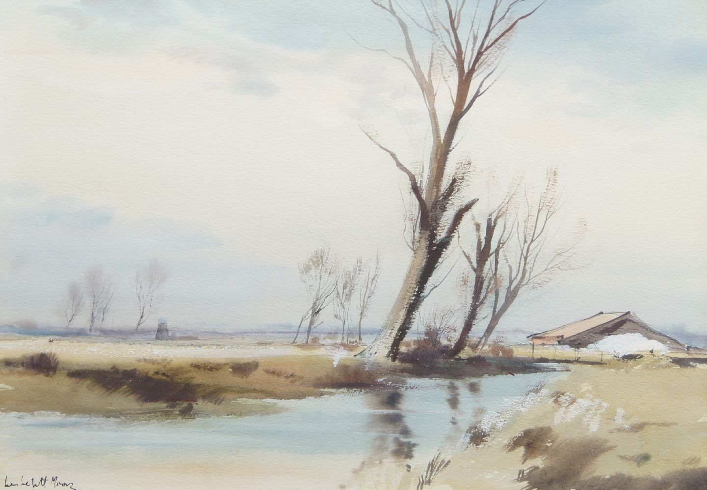 Leslie L H Moore, British 1907-1997- Boat sailing along a river and River landscape; watercolours, a - Image 2 of 2