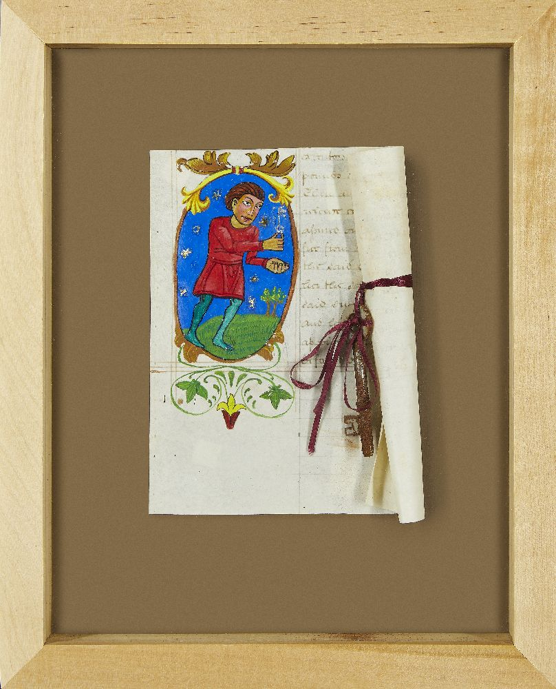 Fernando Caceres, Peruvian, late 20th century- Letter of Love, a medieval manuscript; mixed media on