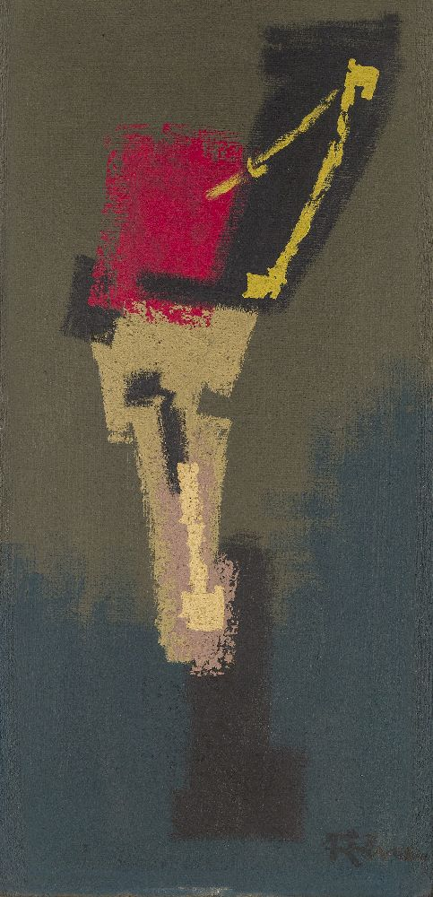 Siegried Alva, German 1901-1973- Untitled, circa 1950; oil on board, signed lower right, 60x31cm (