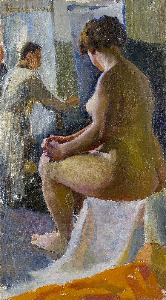 Dmitry Aleksandrovich Toporkov, Russian 1885-1937- Artist and his Model, circa 1910; oil on