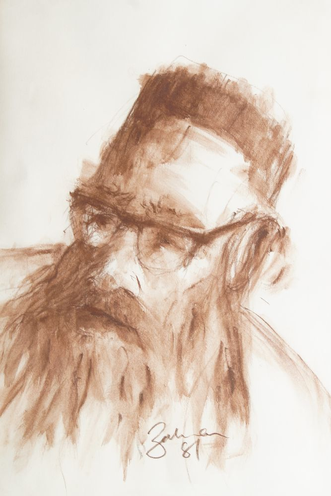 Zalmon Winer, British 1934-1996- Head of a Rabbi; red chalk, signed and dated 81, 35x25cm: Rex