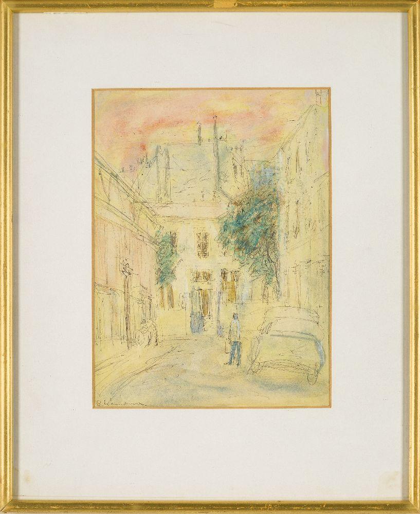 Berta Grünberg, Polish 1912-1993- Street scene in Paris; black pen, watercolour and gouache, - Image 3 of 4