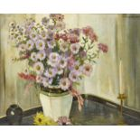 John Wheatley, British 1892-1955- Floral still life; oil on canvas laid down on board, signed,