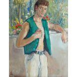John Carter, British 1927-2004- Green waistcoat, portrait of a man, 1997; oil on board, signed,