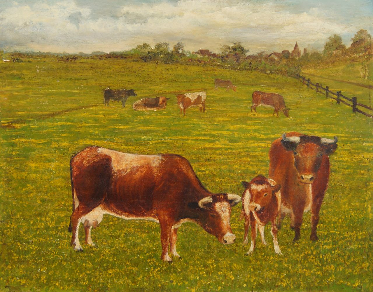 French Provincial school, 20th century- Cows in a field; oil on canvas, 30.5x38cm: together with two