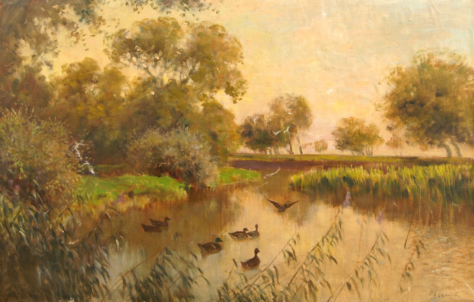 Ferenc Olgyay, Hungarian 1872-1939- Tranquil river landscape with woodland and ducks; oil on canvas,