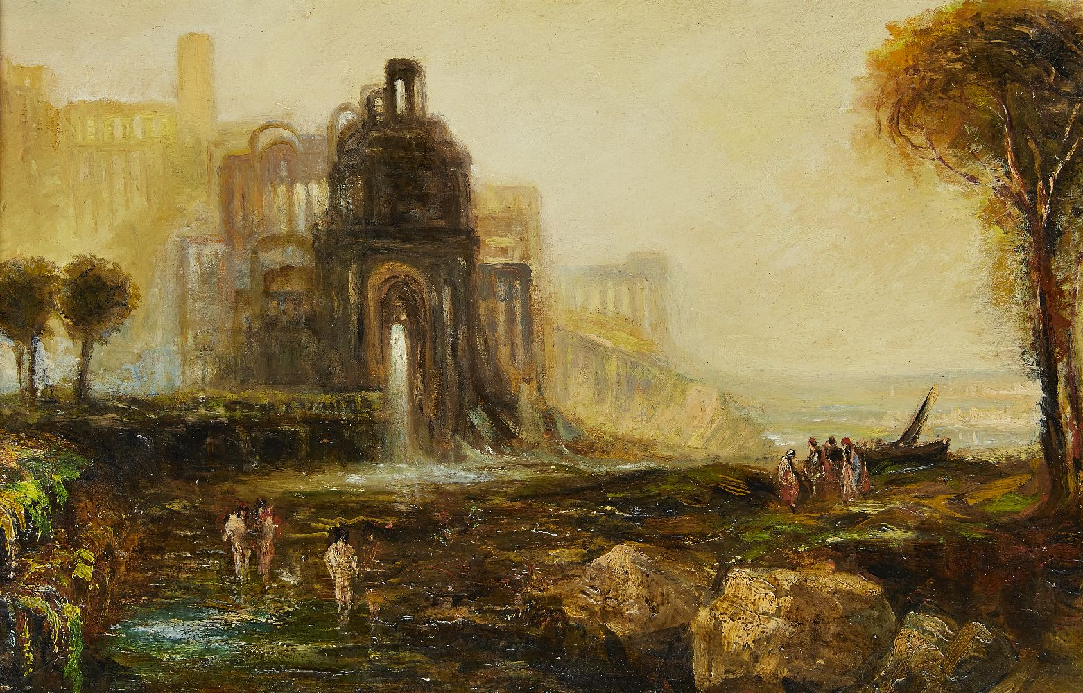 After Joseph Mallord William Turner RA, British 1775-1851- Caligula's Palace with Bridge; oil on