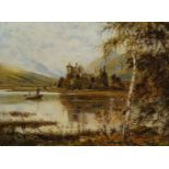 Theodore Hines, British act.1876-1889- Kilchurn Castle, Loch Awe; oil on canvas, signed, bears