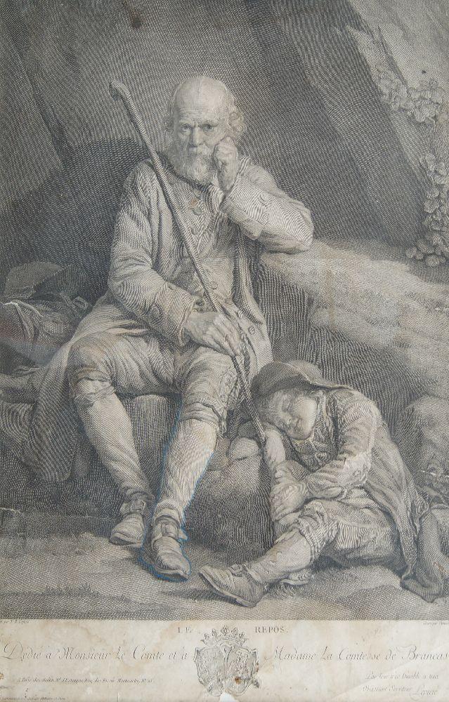 Benoît Audran Snr, French 1661-1721- Le Centaure Nesse Enleve de Janire, after Guido Reni; - Image 2 of 4