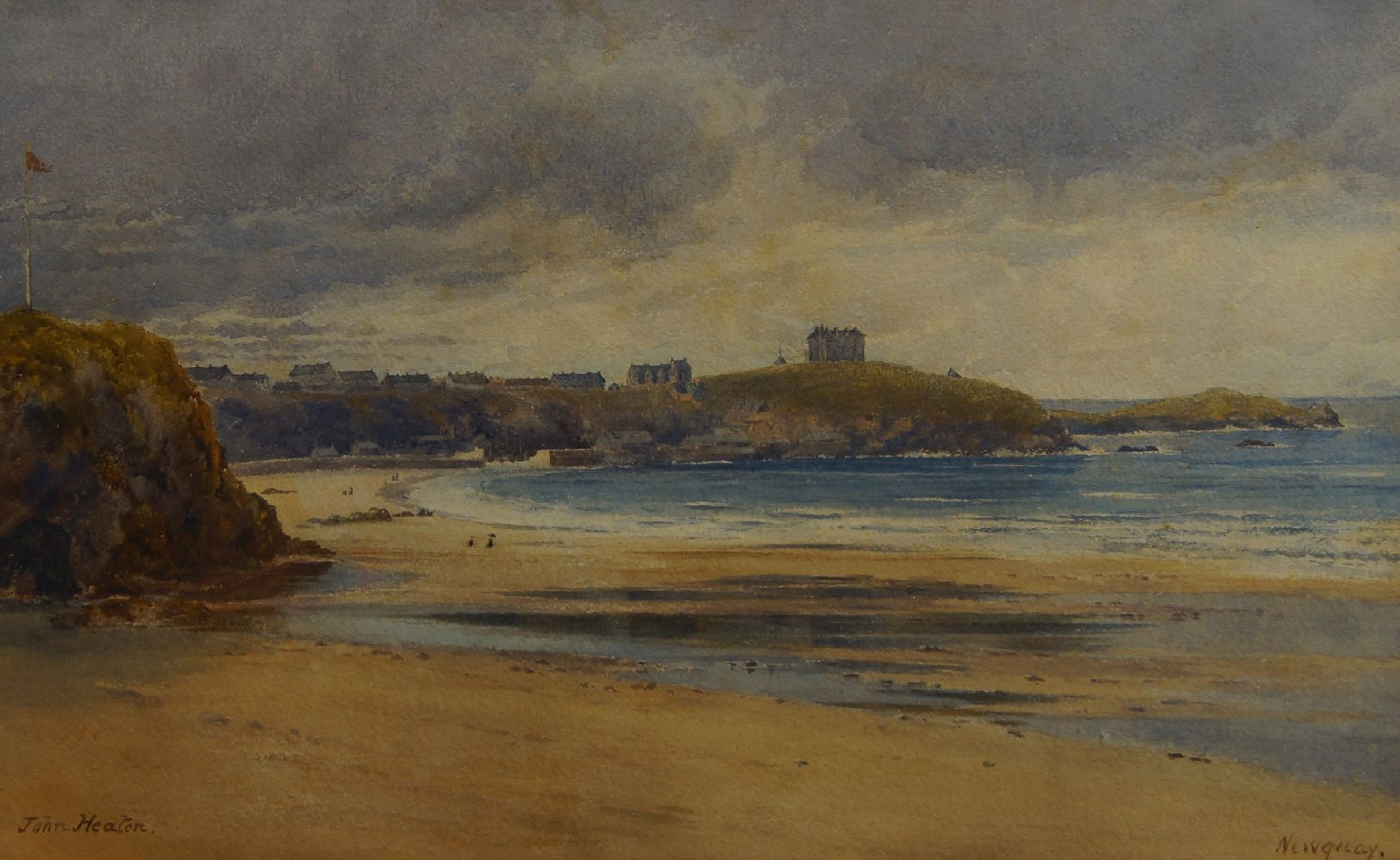 John Heaton, British act. 1884-1890- Newquay; watercolour, signed and titled, 26x42cm, Provenance: