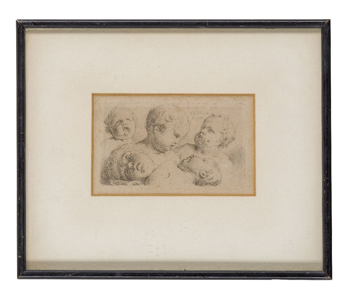 Georg Friedrich Schmidt, German 1712-1775- The heads of five putti; engraving, signed and dated 1767