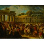 After Charles Meynier, French 1768-1832- Napoleon Entering Berlin; oil on panel, 30x40cm Please