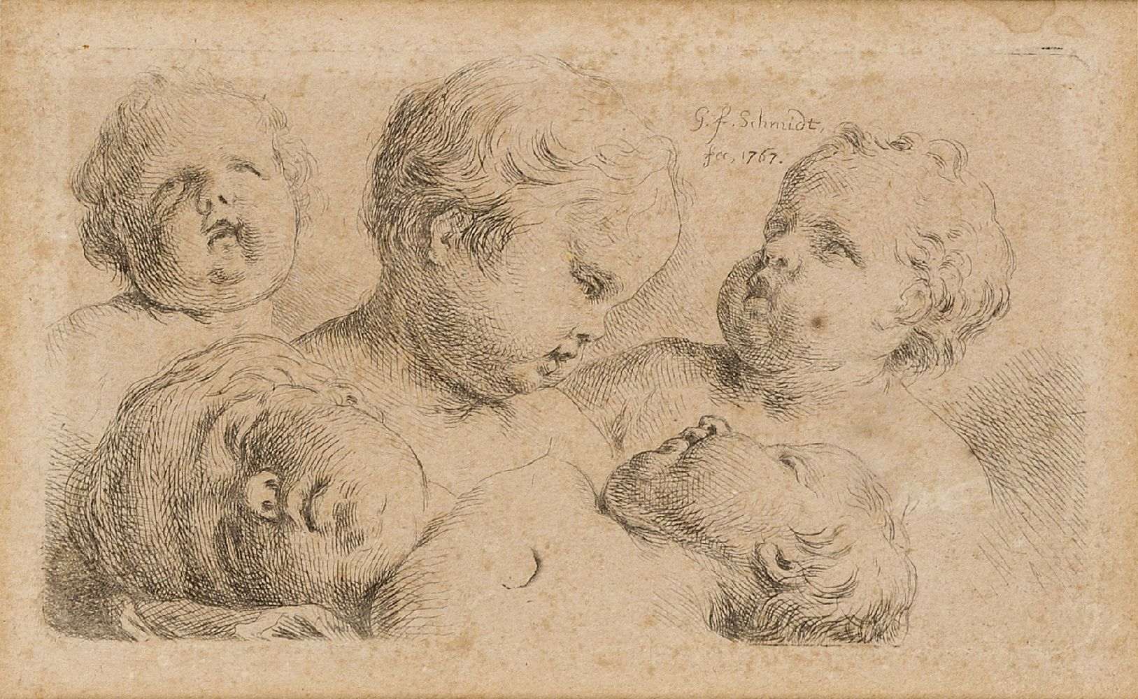 Georg Friedrich Schmidt, German 1712-1775- The heads of five putti; engraving, signed and dated 1767 - Image 2 of 3