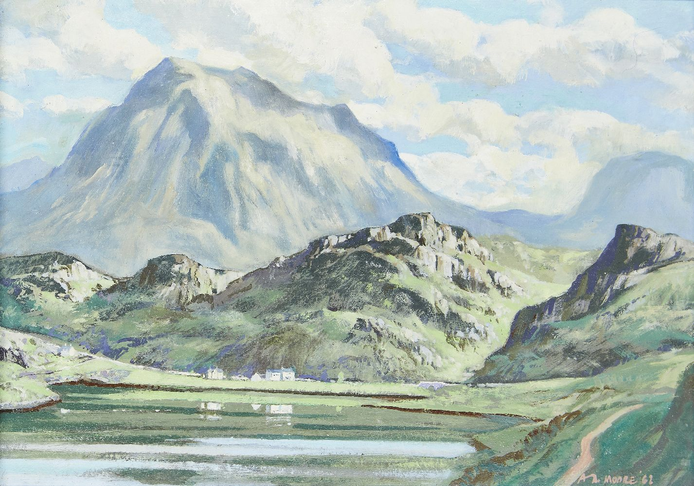 A A Moore, British, early-mid 20th century- View of a highland loch; oil on board, signed and