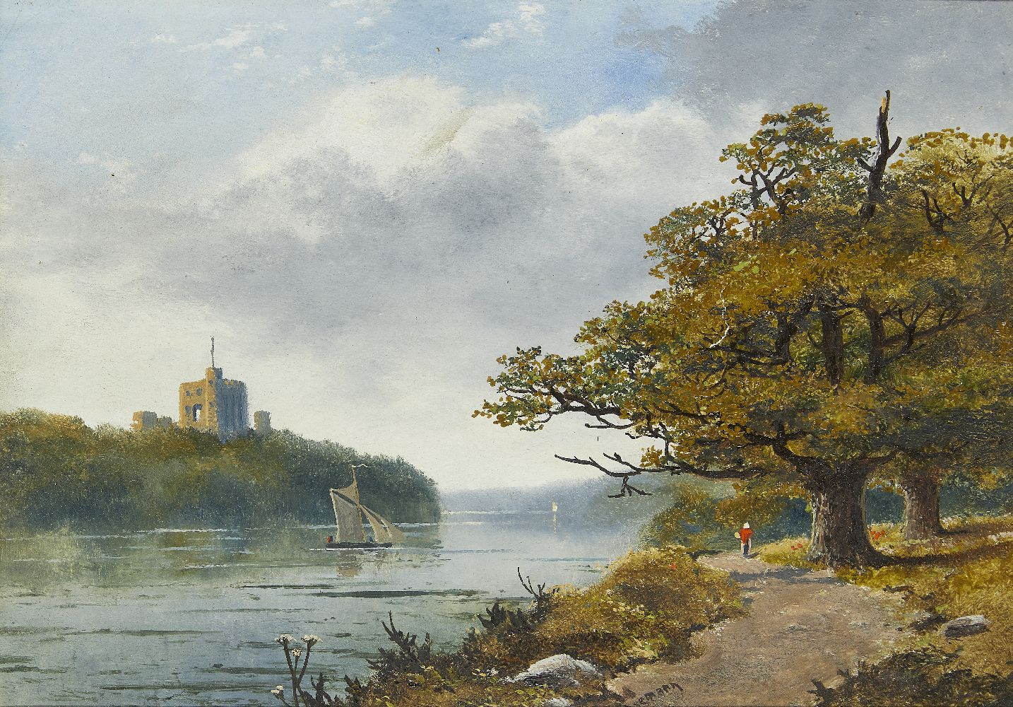 Edmund John Niemann, British, 1813-1876- A river landscape with a fortress beyond; oil on board,