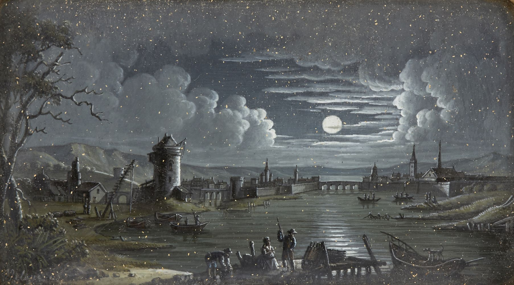 Attributed to Charles Claude Delaye, French 1793-1848- Moonlit river scene with windmill; oil on
