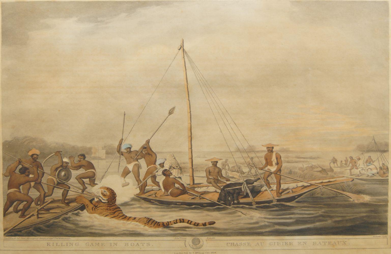 Henri Merke, British/Swiss fl. 1799-1820- Killing Game in Boats/Chasse au Gibier en Bateaux, after