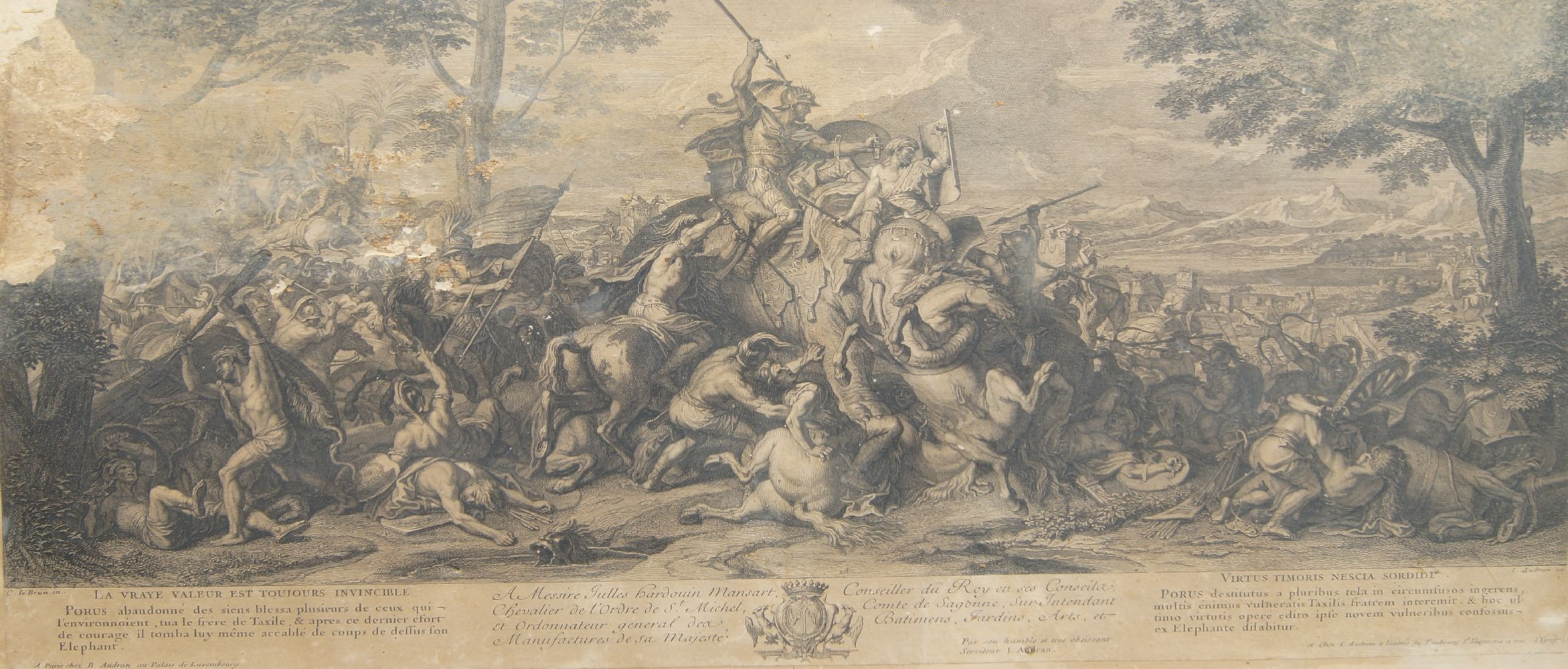 Jean Audran, French 1667-1756- Alexander attacking Perseus, after Charles le Brun; etching and