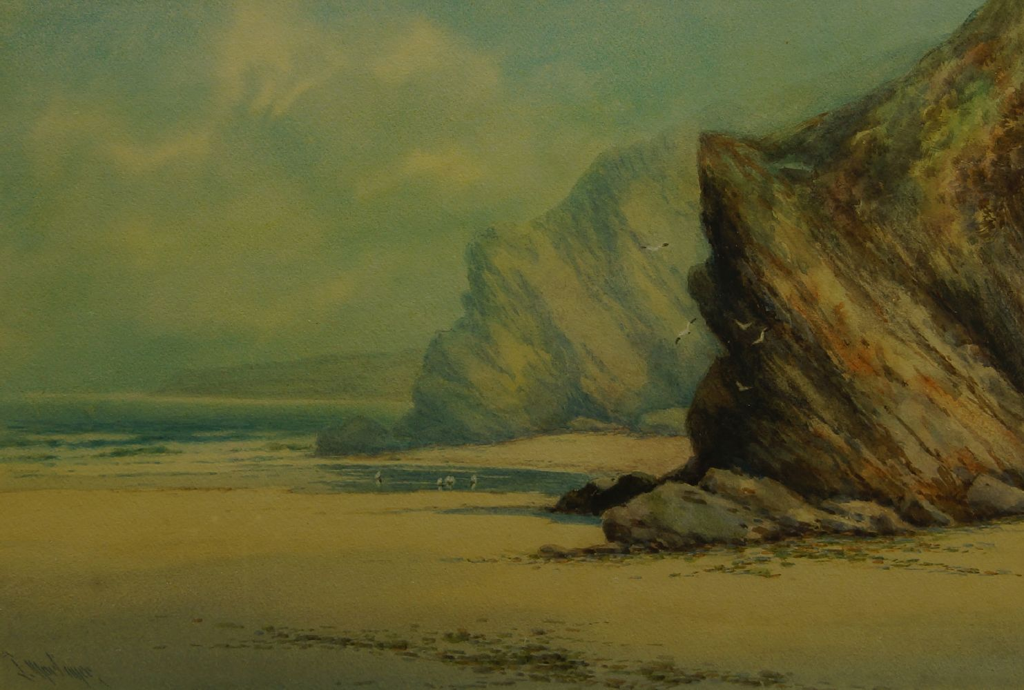 John Heaton, British act. 1884-1890- Newquay; watercolour, signed and titled, 26x42cm, Provenance: - Image 2 of 3