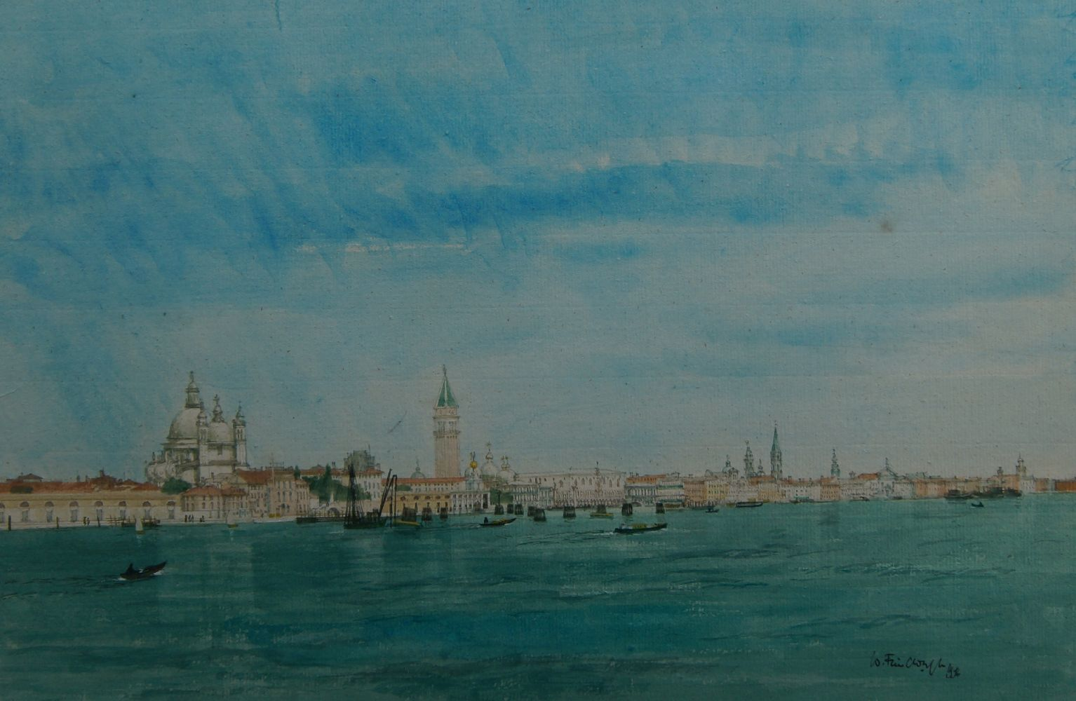 Wilfred Fairclough RWS RE ARCA, British 1907-1996- Venice from the Giudecca; watercolour, signed and