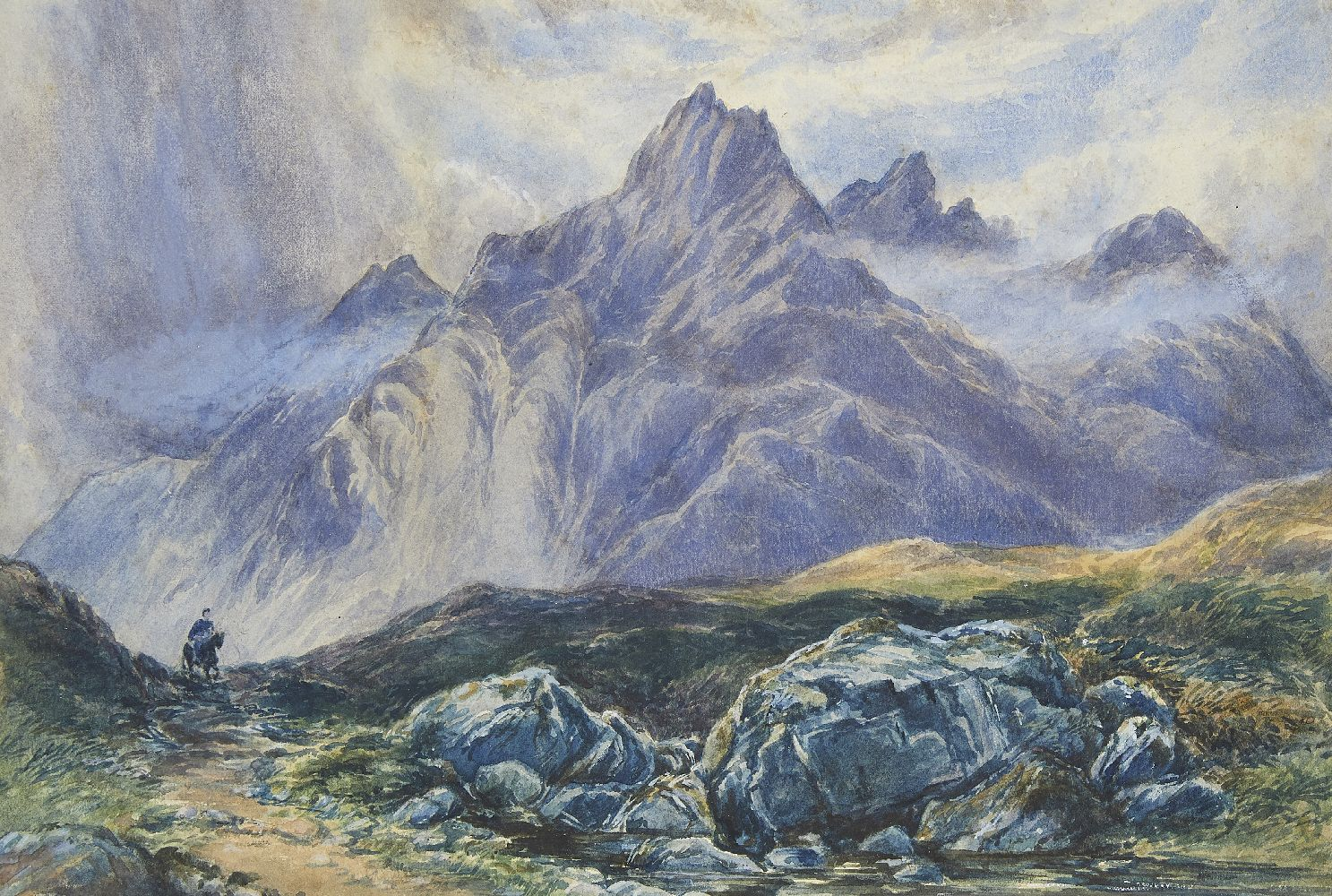 European School, mid-late 19th century- A lone rider in an Alpine landscape; watercolour with