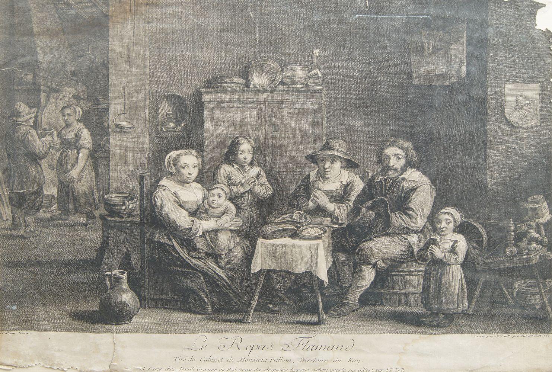 Benoît Audran Snr, French 1661-1721- Le Centaure Nesse Enleve de Janire, after Guido Reni; - Image 3 of 4