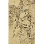 Henri Pille, French 1844-1897– Don Quixote and Sancho Panza; brown ink and pen, signed, 35x21.5cm