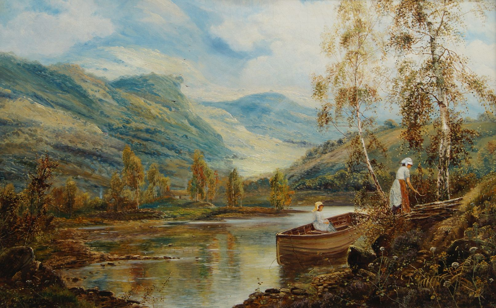 Theodore Hines, British act.1876-1889- On Loch Hourne; oil on canvas, signed, bears inscription