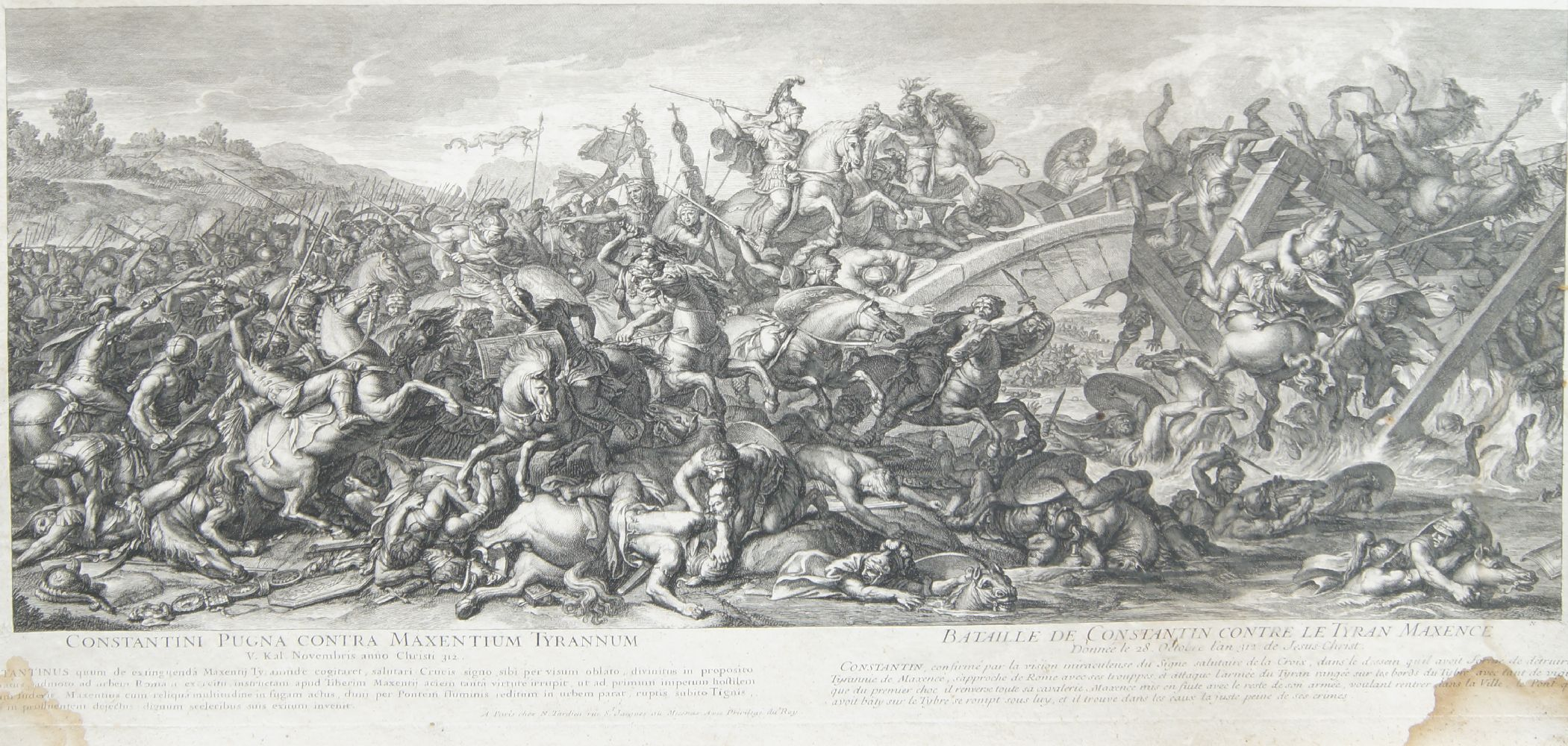 Jean Audran, French 1667-1756- Alexander attacking Perseus, after Charles le Brun; etching and - Image 2 of 2