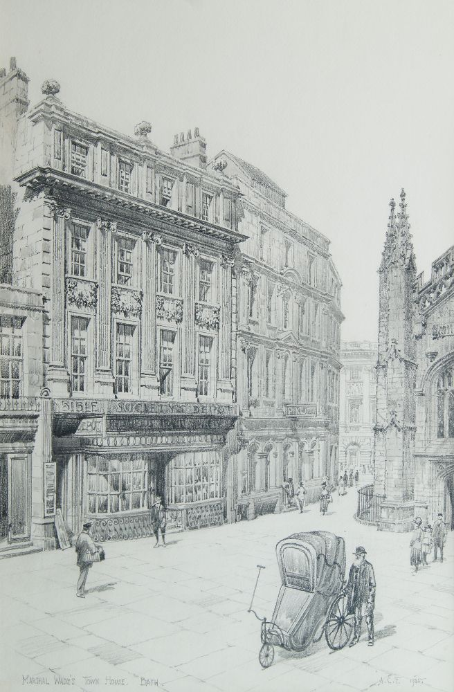 Arthur Charles Fare RWA, British 1876-1958- Marshal Wade's Town House, Bath; pencil, signed with