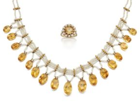 A seed pearl and citrine necklace and a citrine and cultured pearl ring, the necklace with seed