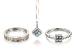 Two diamond set rings and an aquamarine pendant necklace, ring comprise, an 18ct white gold