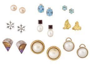 Nine pairs of various earrings, including: a pair of diamond single stone snowflake design earstuds,