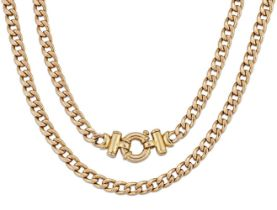 A 9ct gold necklace, of curb-link design with bar and bolt ring clasp, length, European convention