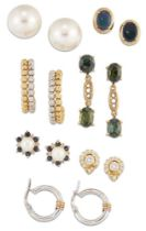 Seven pairs of earrings, including: a pair of black opal single stone earstuds; pair of green