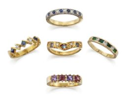 A group of five diamond and gem half-hoop rings, comprising: a circular sapphire and brilliant-cut