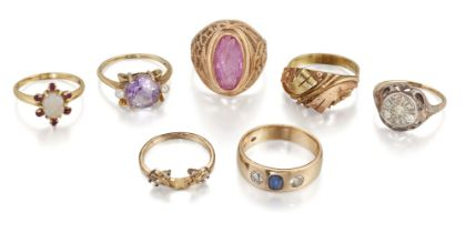 A group of seven gem rings comprising: an amethyst and seed pearl ring, size N½; a diamond cluster